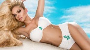 Older Blond Model Posing in White Bathing Suit