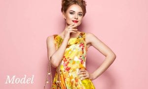 Thin Woman in Vintage Style Floral Dress
